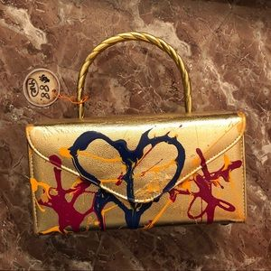 "Handbags - Gold ""box"" purse vintage hand-painted Nicole Royer"